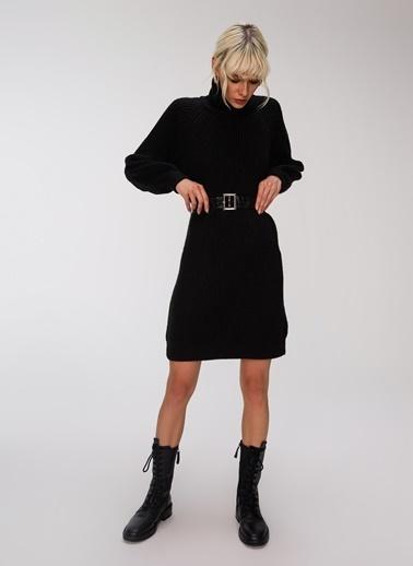People By Fabrika Kemerli Triko Elbise Siyah
